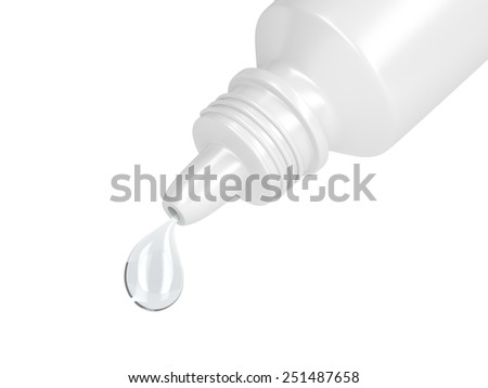 Eye drop in white plastic container - stock photo