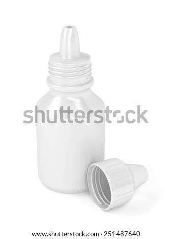 Eye drops bottle on white background - stock photo