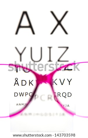 Eye Exam with eye chart - stock photo