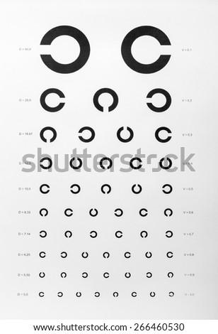 Eye examination chart - stock photo