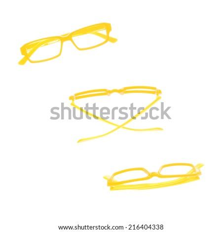 eye glasses frames set isolated on white background. - stock photo