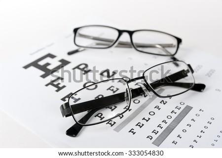 Eye glasses on eyesight test chart background close up - stock photo