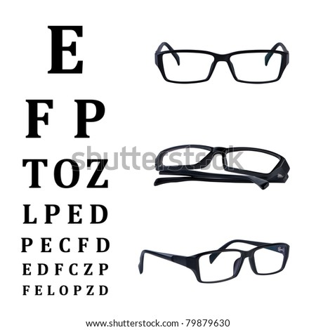 Eye glasses with eye chart isolated on white background without shadow. Clipping paths .