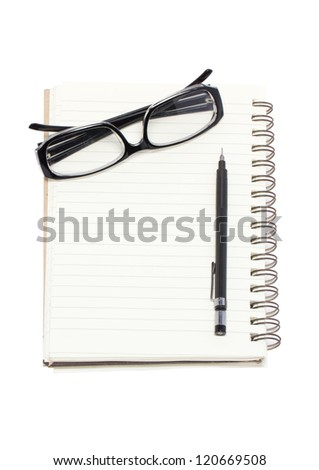 Eye glasses with mechanical pencil and binder notebook isolated on white background. - stock photo