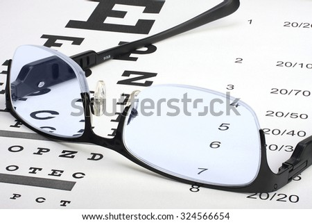 eye glasses with thin frame lying on snellen chart - stock photo