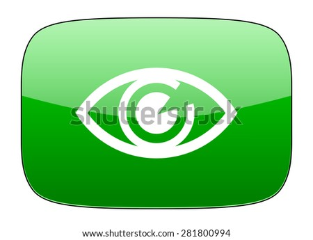 eye green icon view sign