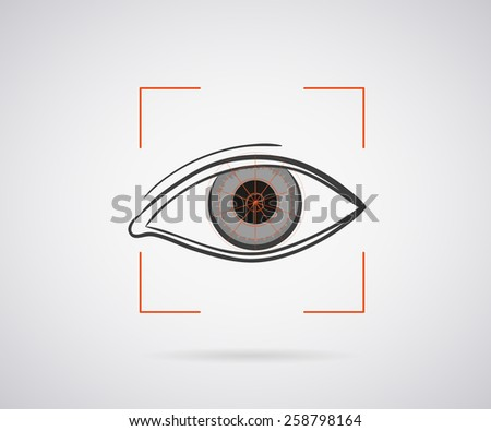 Eye identification icon with red laser light - stock photo