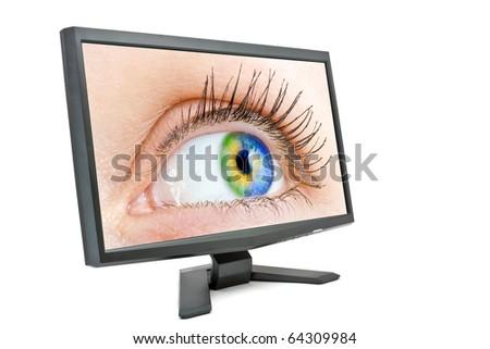 eye in the monitor - stock photo