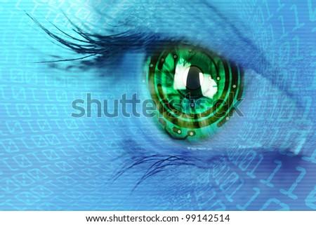 eye iris and green electronic circuit - stock photo