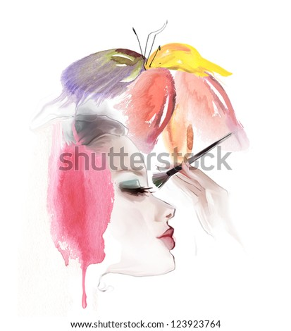 eye lash face woman cosmetic - stock photo