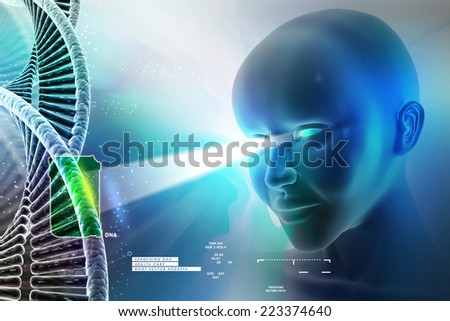 eye looking ahead against dna structures - stock photo
