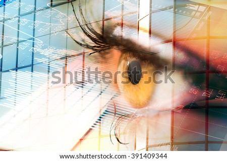 Eye looks to the future business. Woman's eye in the double exposure of a modern city and technology. - stock photo
