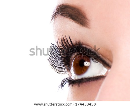 Eye make up with black mascara - stock photo