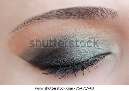 Eye makeup close up - stock photo