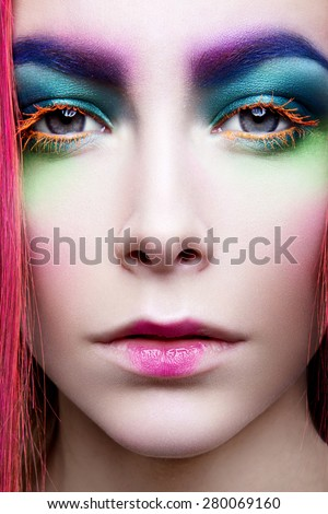 Eye Makeup. Holiday Makeup detail. False Lashes - stock photo