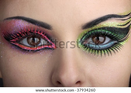 Eye makeup with a beautiful eyebrow