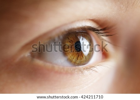 Eye of a child looking at a monitor or television close-up - stock photo