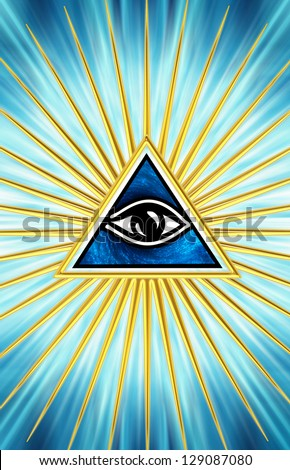 Eye Of Providence - All Seeing Eye Of God - Symbol Omniscience - stock photo