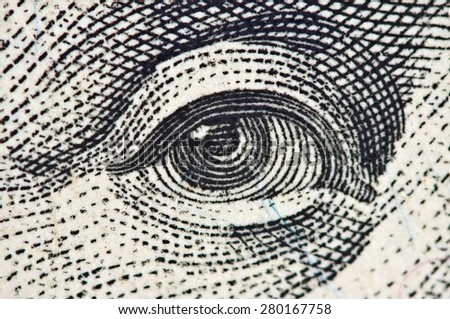 Eye on a banknote of dollar USA, Macro - stock photo
