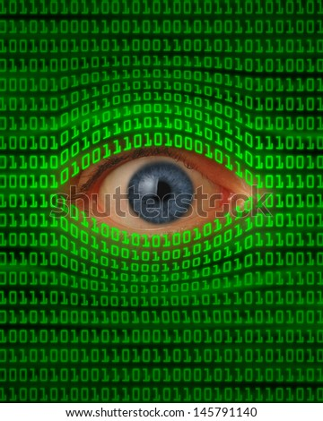 Eye peeking through green binary code