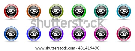 eye round glossy colorful web icon set