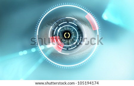 eye scan interface - stock photo