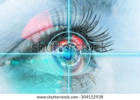 eye scan interface - stock photo