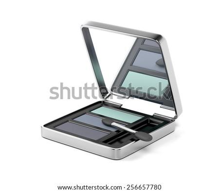 Eye shadow and applicator brush - stock photo