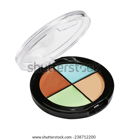 Eye shadows and blush. Plastic case. Isolated - stock photo