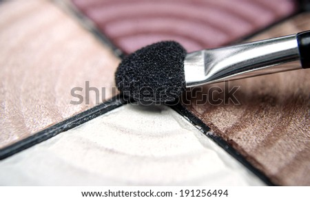 eye shadows with brushes - stock photo