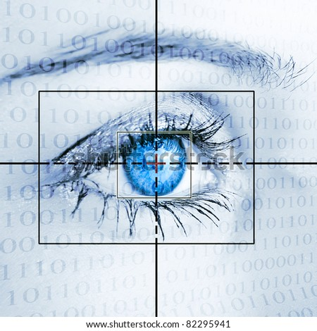 Eye system security identification. - stock photo