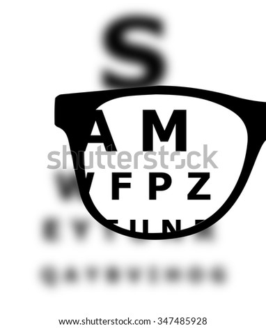 Eye test blurred with glasses