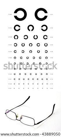 Eye test chart with a black metal frame eyeglasses - stock photo