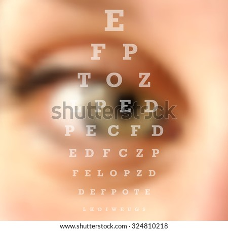Eye test vision chart close up blurred effect. Ophthalmology concept background.