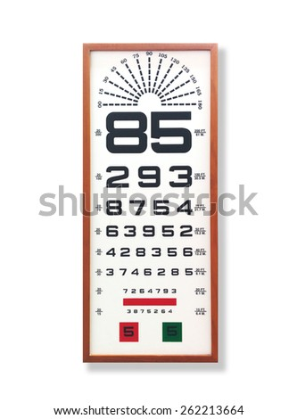 Eye testing chart with timber border. - stock photo