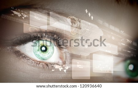 Eye viewing digital information represented by circles and signs - stock photo