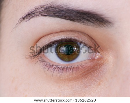 eye with green numbers - stock photo