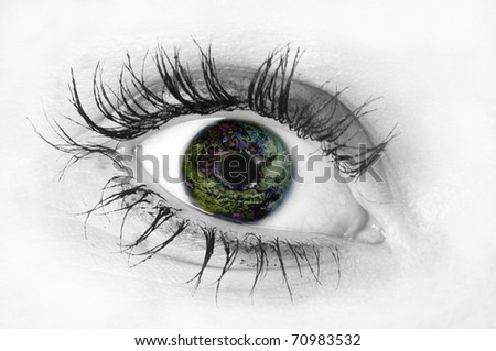 Eye with planet reflection - stock photo