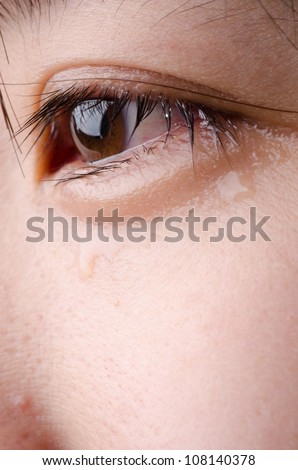 eye with tear of asian woman - stock photo