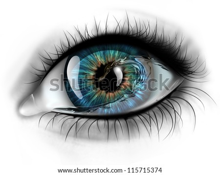 eye with water inside close-up - stock photo