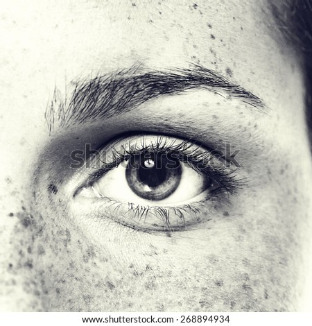 Eye woman freckle black and white