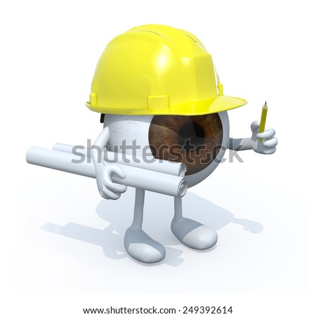eyeball architect with plans hard helmet and pencil. 3d illustration isolated white background. - stock photo