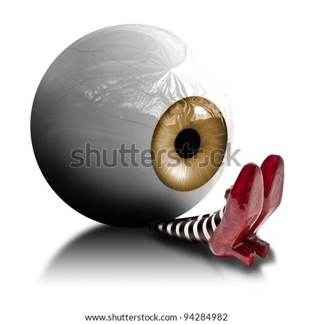Eyeball fallen on the wicket witch - stock photo