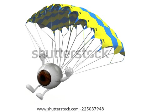eyeball with arms and legs that is landing with parachute, 3d illustration - stock photo