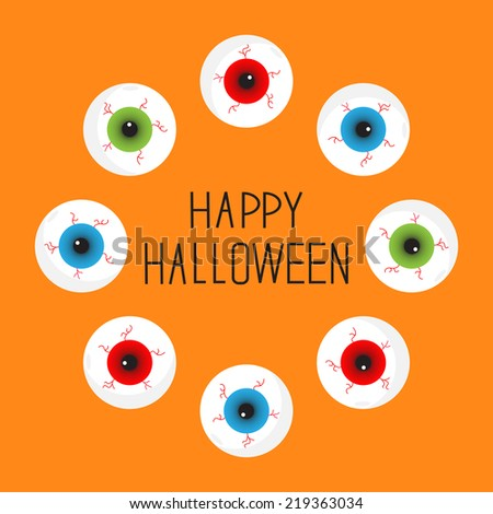 Eyeballs with bloody streaks. Round frame. Happy Halloween card. Flat design.  - stock photo
