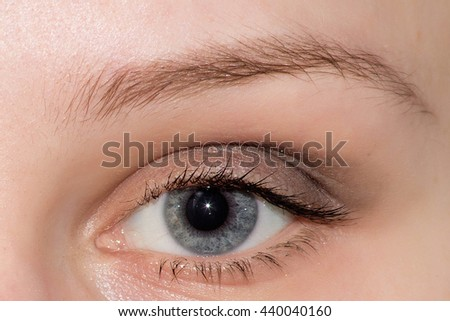Eyebrow Before Correction. Close-up macro photo, big opened eye, care, review of eyes, light brown coloring natural shape procedure nude make-up. Care, thin out, pull out. woman needs new cosmetology