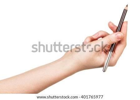 Eyebrow Pencil in a female hand isolated on white background.