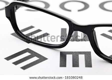 Eyechart with eyewear - stock photo