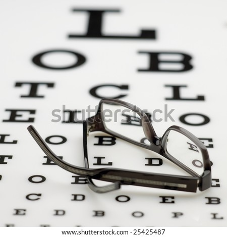 Eyechart with spectacles - stock photo