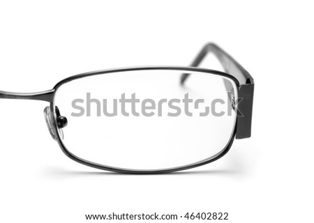Eyeglass closeup on white background